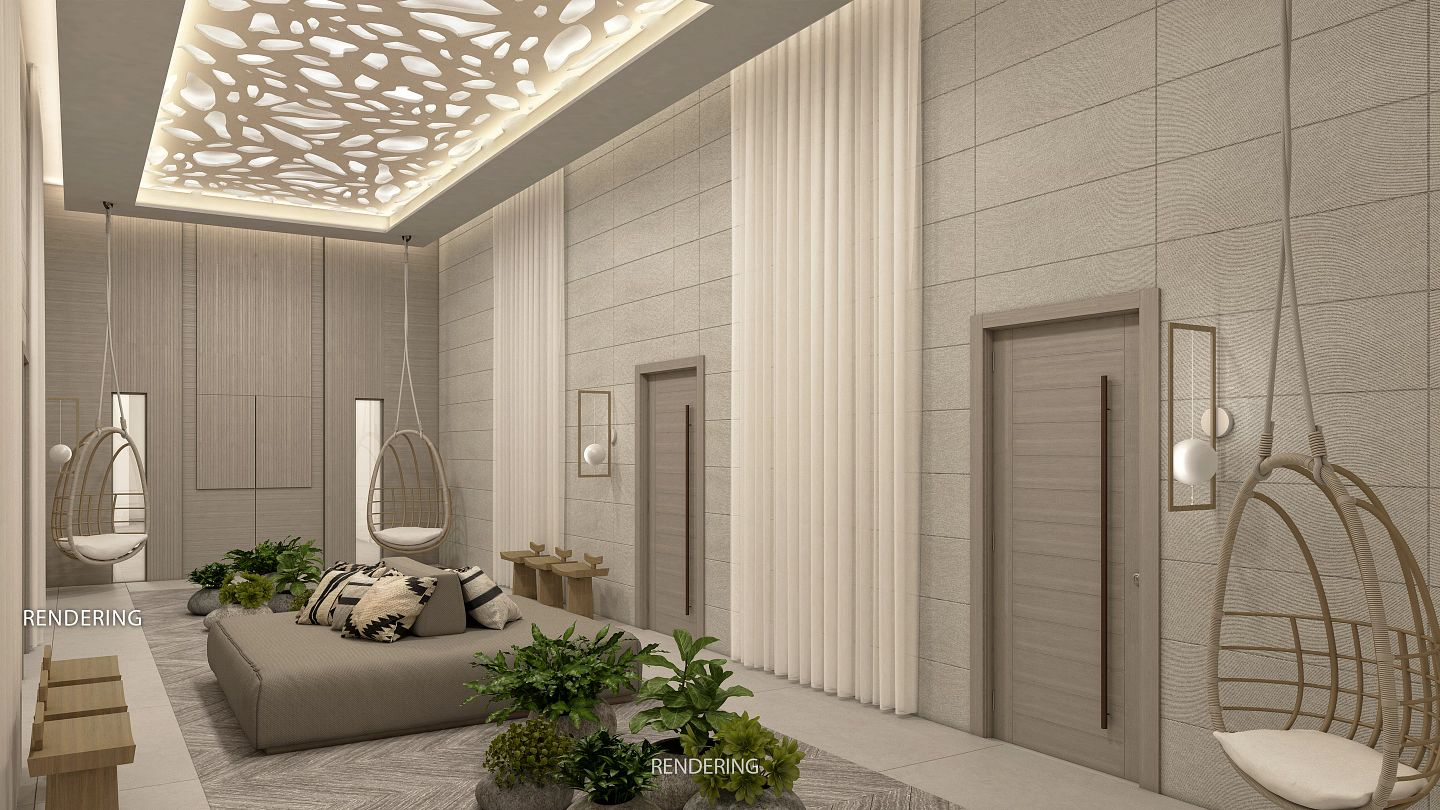 computer rendering of a spa relaxation area
