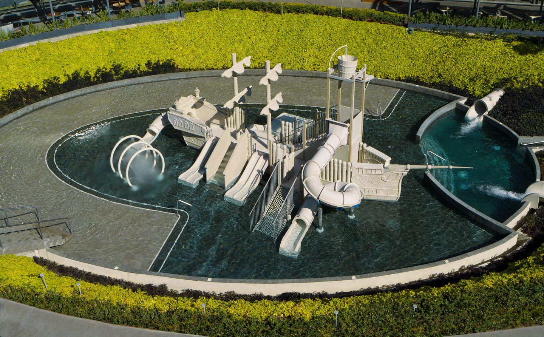 Splash park with pirate ship