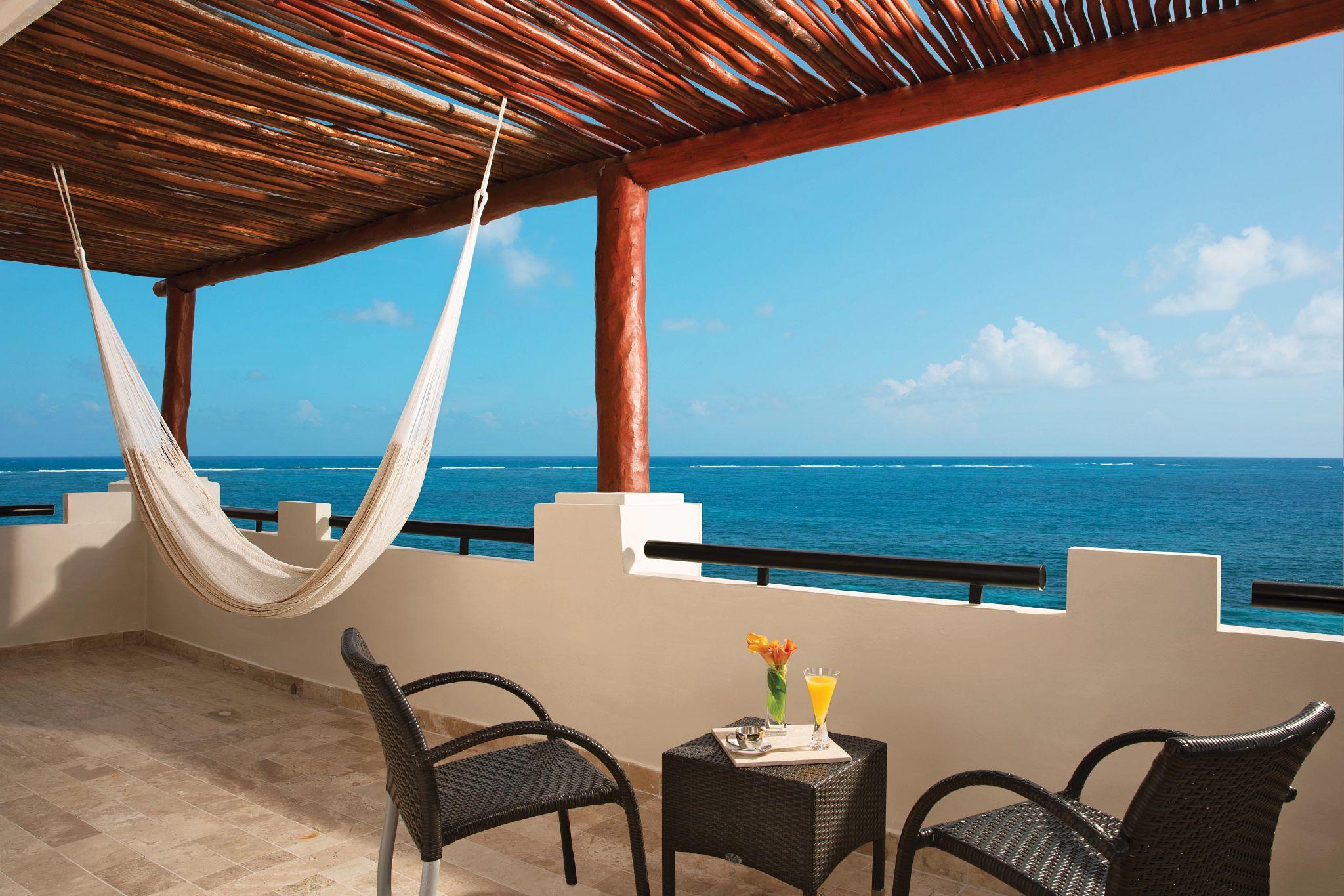 terrace of hotel suite overlooking the ocean