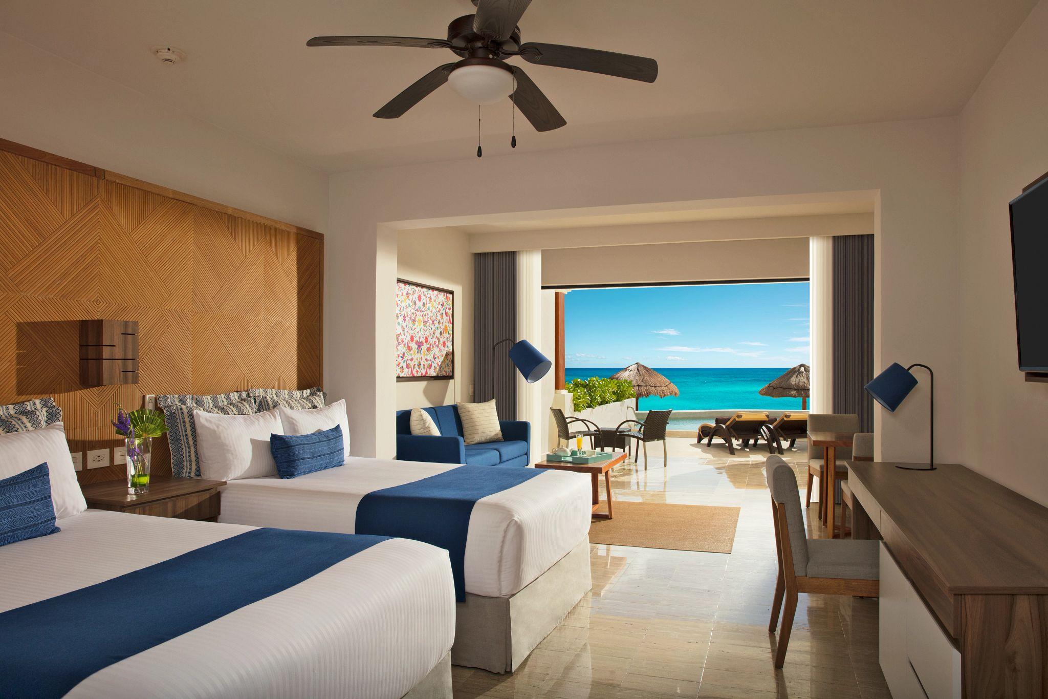 Double bed hotel room overlooking the ocean