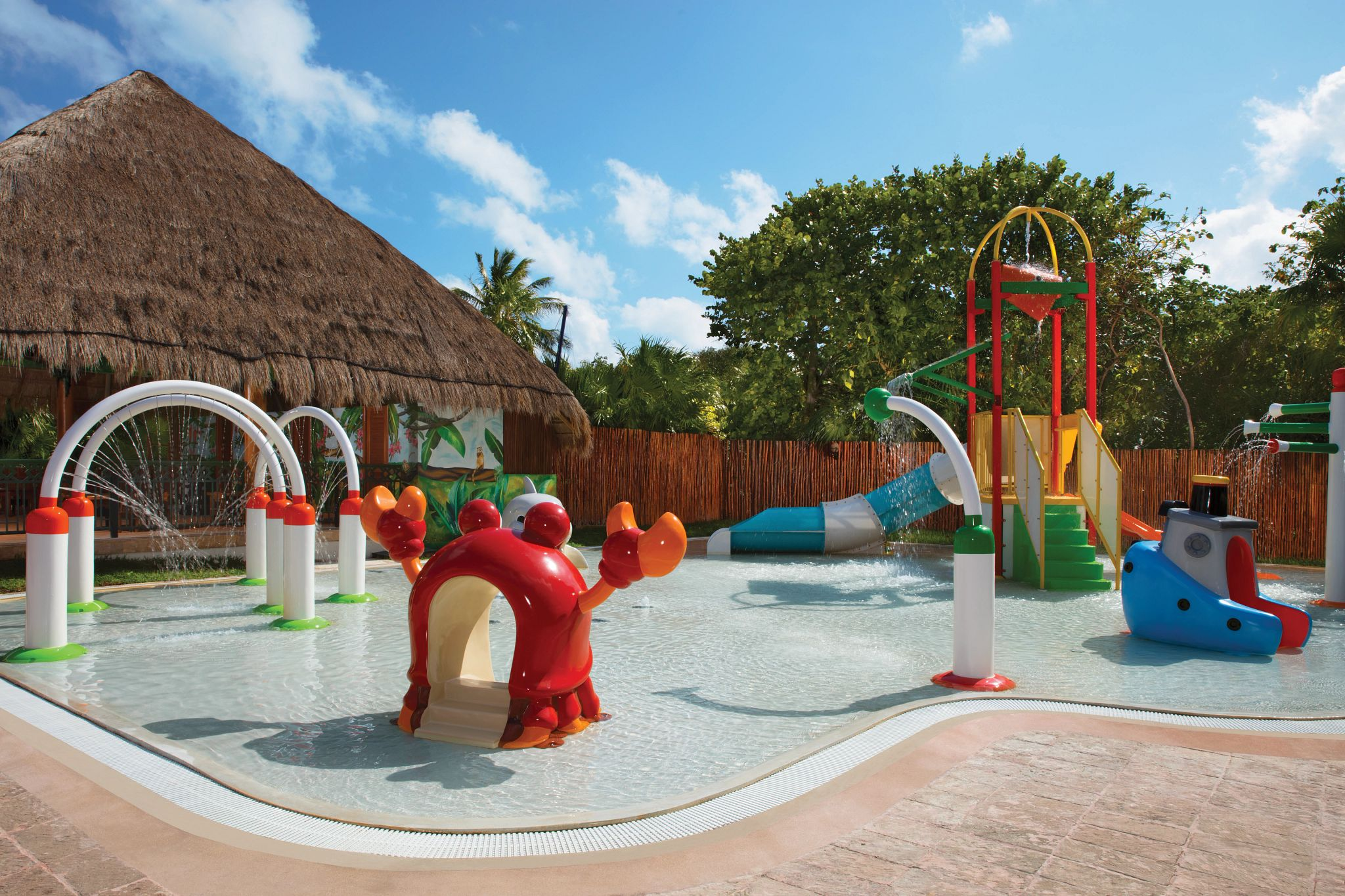 kids splash park with colorful slides and play area
