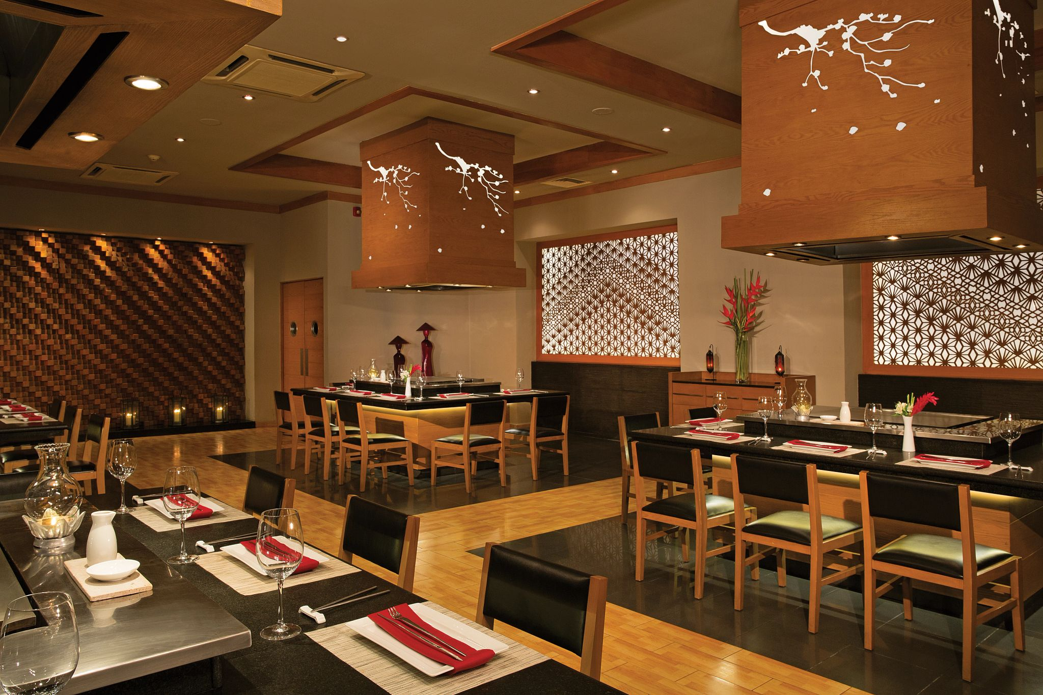 interior of a restaurant with Asian inspired decor