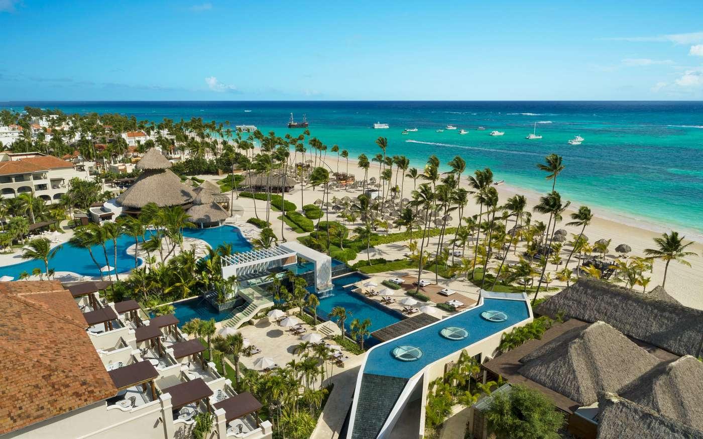 Aeirla image of white sand beach and swimming pools