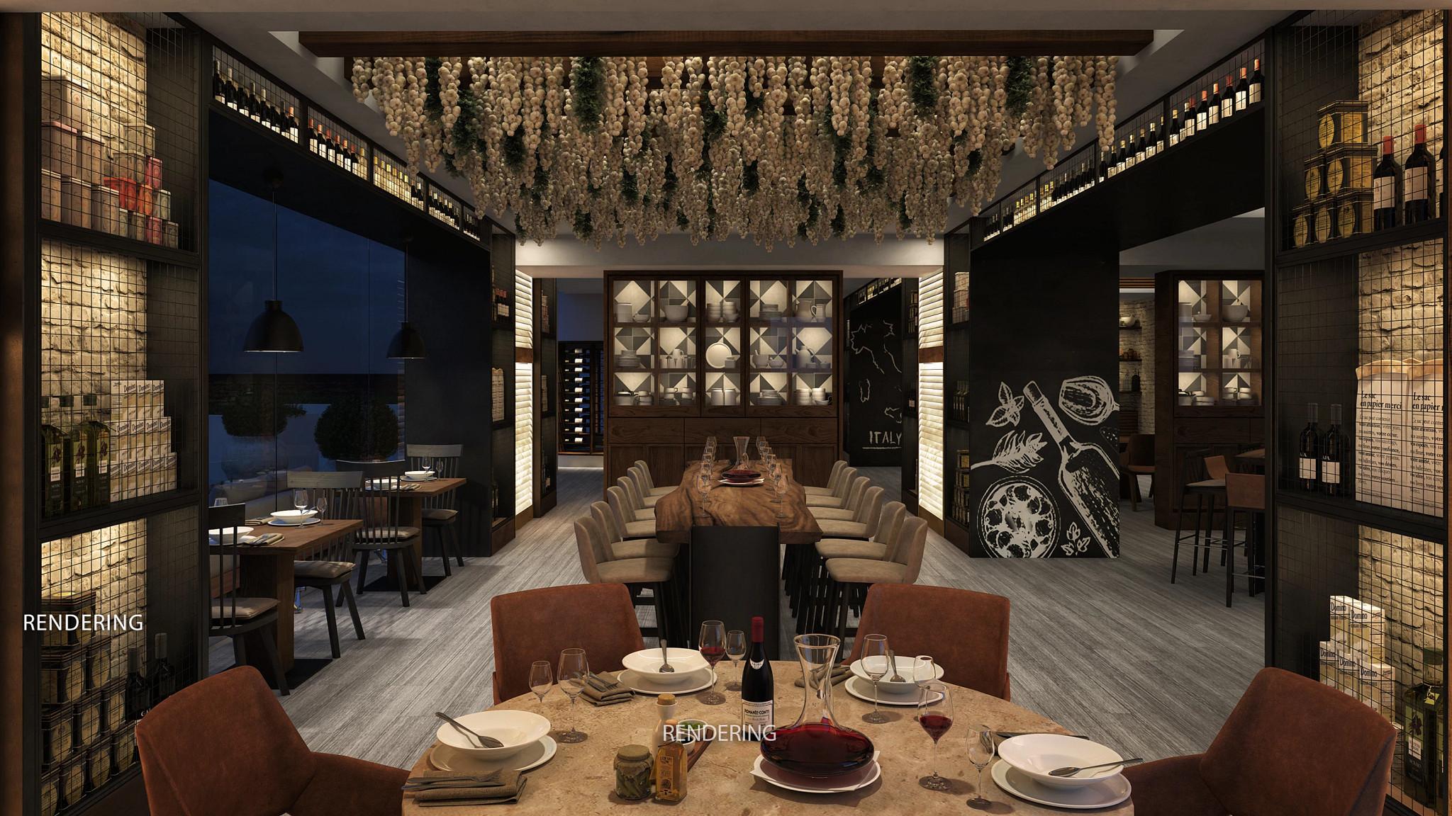 computer rendering of an italian restaurant