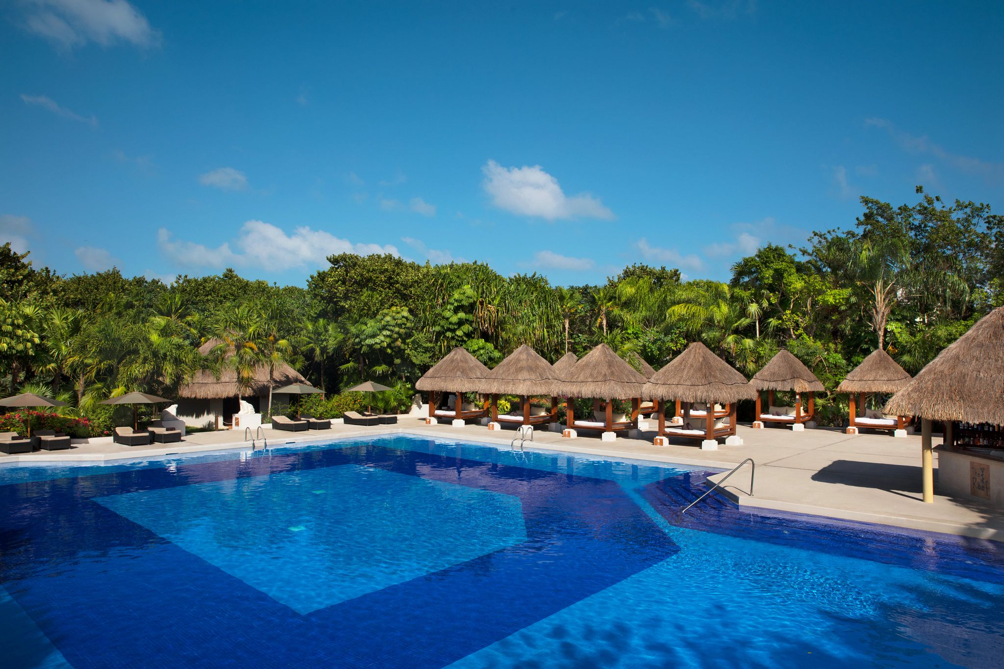 pool with thatched roof lounge areas