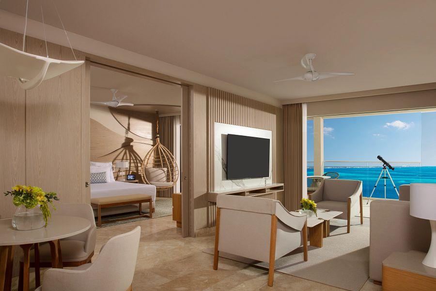 Computer rendering of hotel suite living area