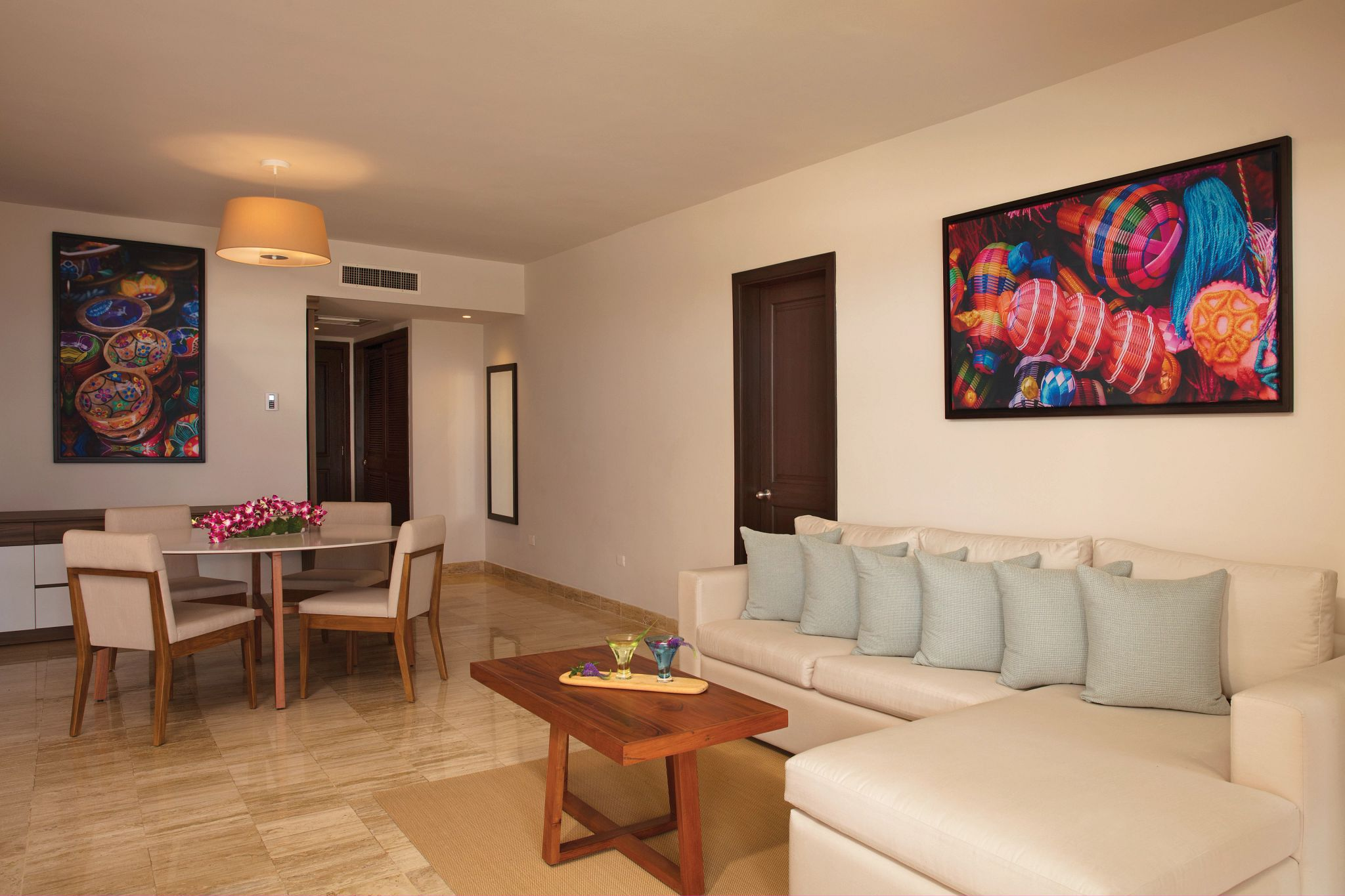 living area of a large hotel suite